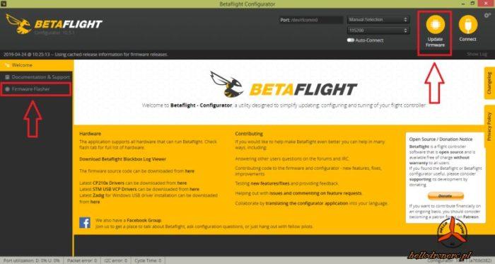 BETAFLIGHT CONFIGURATOR 4.0 aktualizacja oprogramowania FW