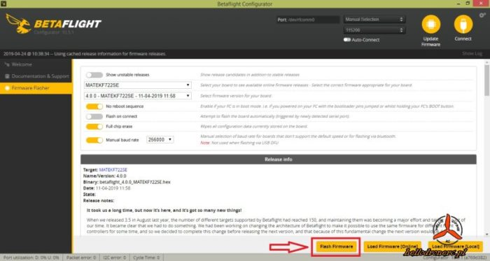 Betaflight 4 firmware update - aktualizacja oprogramowania betaflight do FC