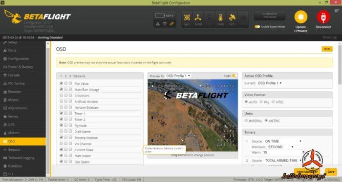 BETAFLIGHT 4.0 OSD PROFILE GPS