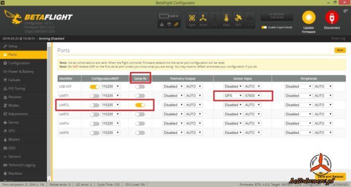 BETAFLIGHT 4 ports ustawienia odbiornik rc gps porty uart