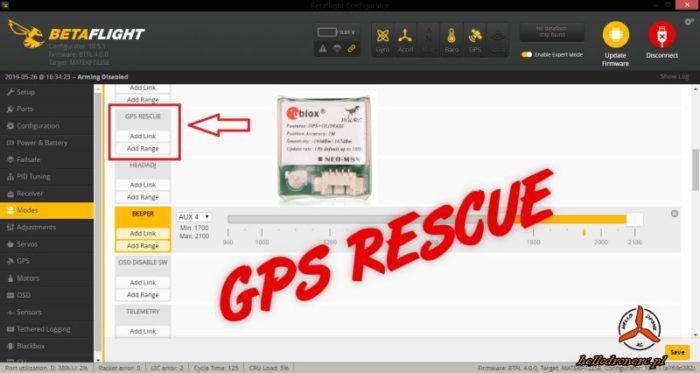 Betaflight GPS Rescue tryb lotu dron fpv