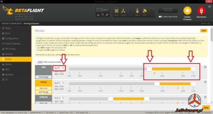 betaflight modes tryby lotu ustawienia
