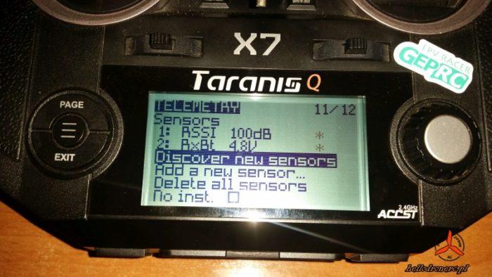 FRSKY TARANIS RSSI Discover new sensors telemetria odbiornik rx