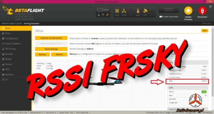 RSSI BETAFLIGHT OSD FRSKY FLYSKY odbiornik reciver r-xsr xm+ r9mm