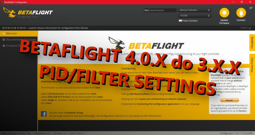 Betaflight PID-y i filtry PID Filter Settings starsza wersja revert settings