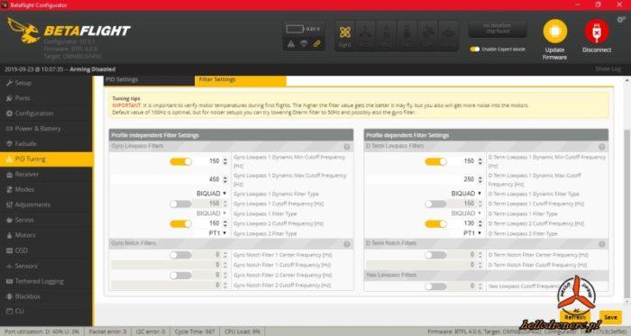 Betaflight domyślne ustawiernia starsza wersja PIDy i filtry