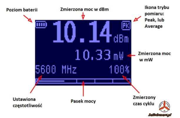 ImmersionRC RF power Meter V2 menu OLED screen