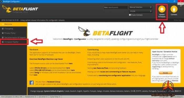 BETAFLIGHT CONFIGURATOR aktualizacja oprogramowania FW