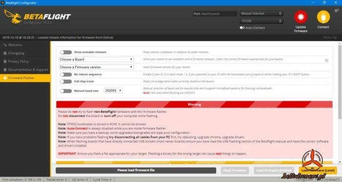 BETAFLIGHT 4.1 aktualizacja oprogramowania FW firmware flasher