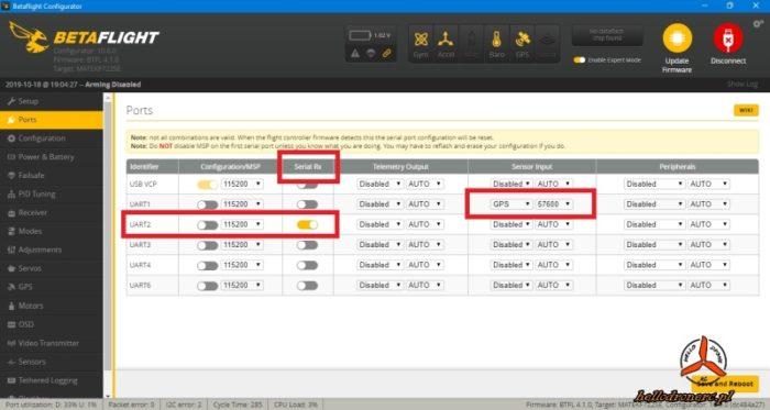 BETAFLIGHT 4 ports ustawienia odbiornik gps smartaudio