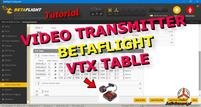 BETAFLIGHT vtx table video transmitter FPV