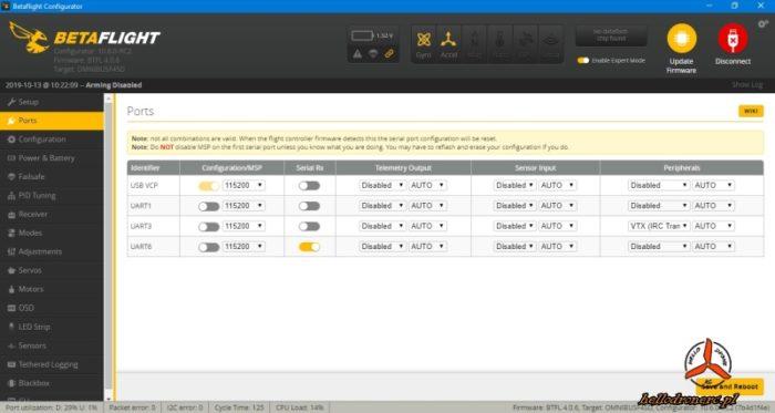 Betaflight SmartAudio vtx ports