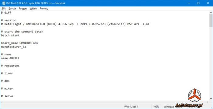 backup betaflight kopia ustawień diff