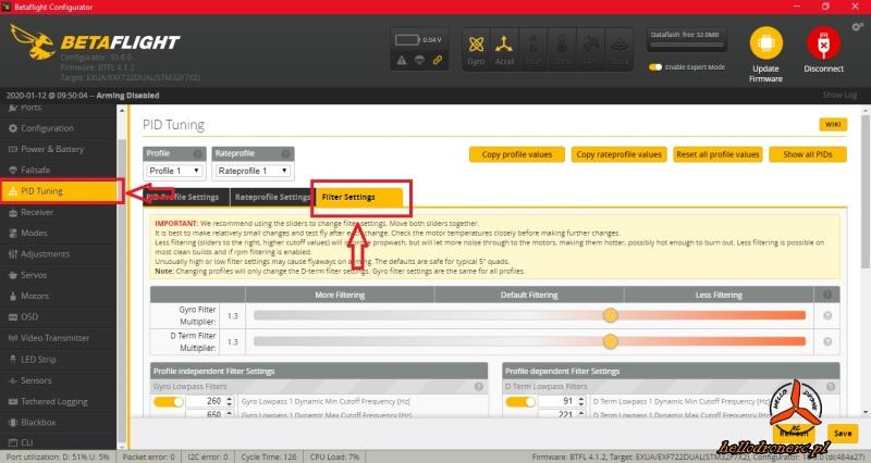 Okno zaawansowanej filtracji oprogramowania Betaflight 4.1